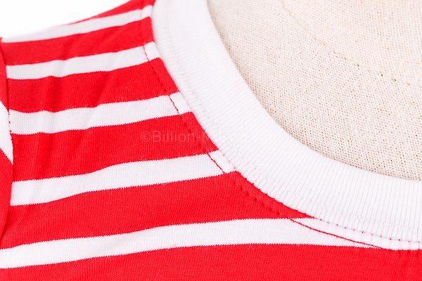 [ส่งฟรี] เสื้อยืดเด็กแขนสั้นลายขวางสีแดง สกรีนสมอเรือ 4