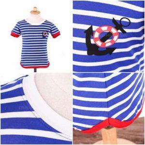 เสื้อยืดเด็กแขนสั้นลายขวางสีฟ้า สกรีนสมอเรือ 5