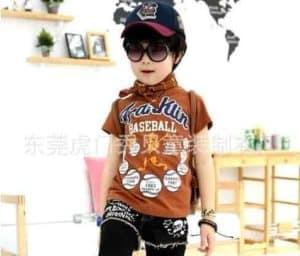 เสื้อยืดเด็กแขนสั้นสีน้ำตาล สกรีน FRANKIN Baseball 2