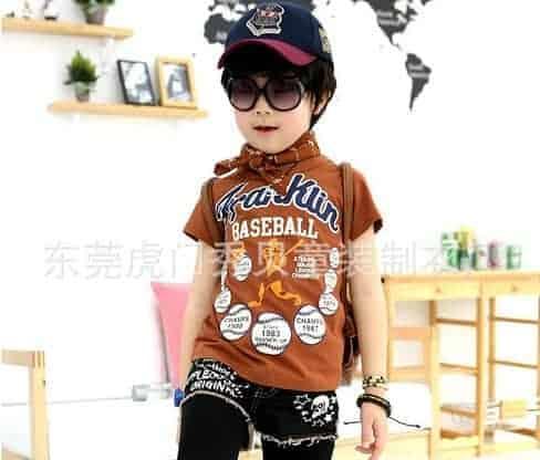 [ส่งฟรี] เสื้อยืดเด็กแขนสั้นสีน้ำตาล สกรีน FRANKIN Baseball 1