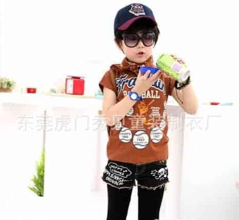 [ส่งฟรี] เสื้อยืดเด็กแขนสั้นสีน้ำตาล สกรีน FRANKIN Baseball 2
