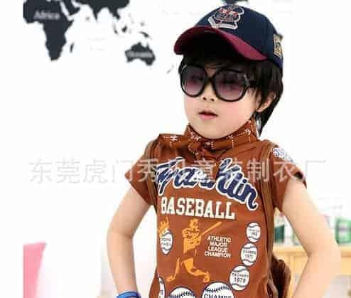 [ส่งฟรี] เสื้อยืดเด็กแขนสั้นสีน้ำตาล สกรีน FRANKIN Baseball 3