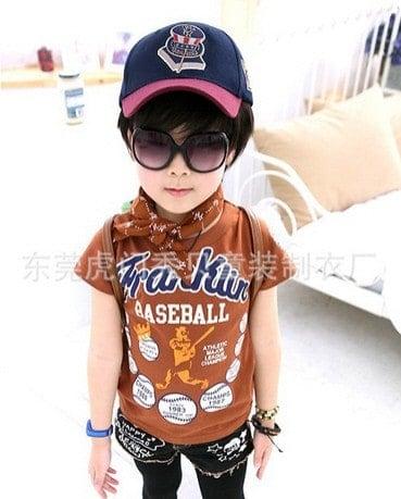 [ส่งฟรี] เสื้อยืดเด็กแขนสั้นสีน้ำตาล สกรีน FRANKIN Baseball 5