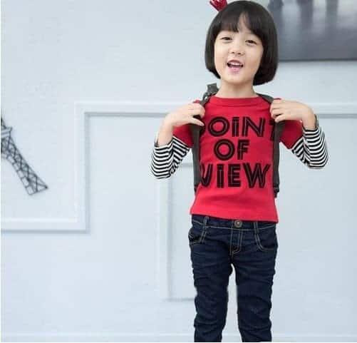 [ส่งฟรี] เสื้อยืดเด็กแขนยาวต่อลายขวางสีแดง สกรีน POINT OF VIEW 1