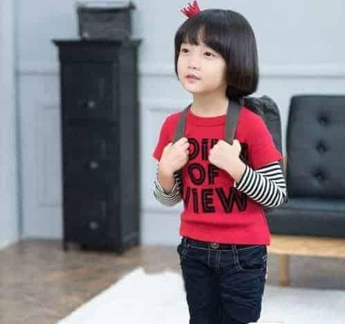 [ส่งฟรี] เสื้อยืดเด็กแขนยาวต่อลายขวางสีแดง สกรีน POINT OF VIEW 2