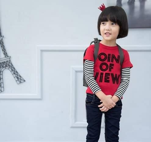 [ส่งฟรี] เสื้อยืดเด็กแขนยาวต่อลายขวางสีแดง สกรีน POINT OF VIEW 3