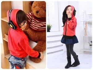 เสื้อแจ็คเก็ตกันหนาวเด็กสีแดง บุผ้าขนสัตว์หนานุ่ม พร้อมแต่งหูฟัง 3D ที่ฮู้ด 10