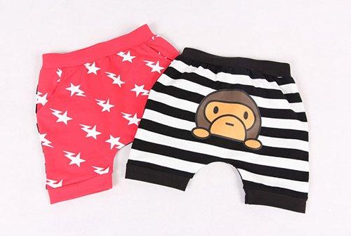 [ส่งฟรี] กางเกงเด็กขาสั้น CI-SI ด้านหน้าสกรีนสายฟ้า ด้านหลังสกรีนลายลิง 1