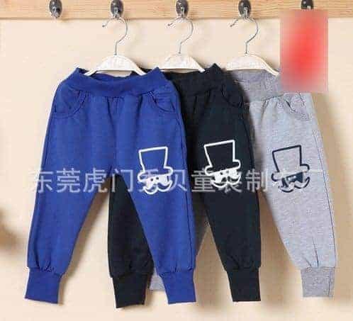 [ส่งฟรี] กางเกงเด็กขายาว เอวยางยืดแต่งกระเป๋าด้านหลัง สกรีน Mr.Potato Beard 1