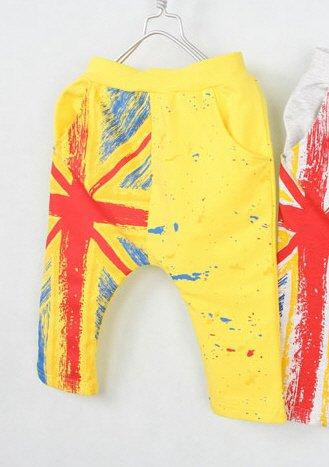 กางเกงเด็กขาสามสี่ส่วน CI-SI สีเหลือง สกรีนลายธงชาติ 1