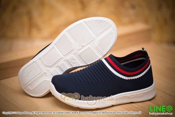 รองเท้าผ้าใบแบบสวมสีกรมท่าเด็ก