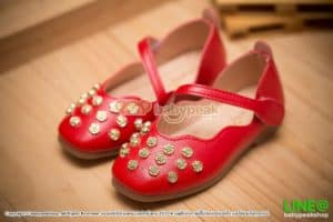 รองเท้าคัทชูลำลองเด็กสีแดง