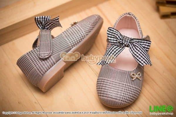 รองเท้าคัทชูเด็กผู้หญิงสีดำแต่งโบว์