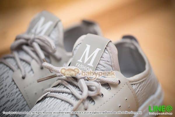 รองเท้าผ้าใบเด็กผูกเชือกสีเทา