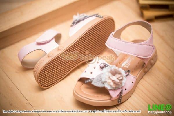 รองเท้ารัดส้นเด็กผู้หญิงสีชมพูแต่งดอกไม้