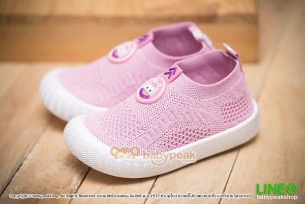 รองเท้าผ้าใบเด็กแบบสวมสีชมพู