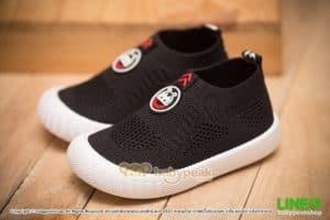 รองเท้าผ้าใบเด็กแบบสวมสีดำ