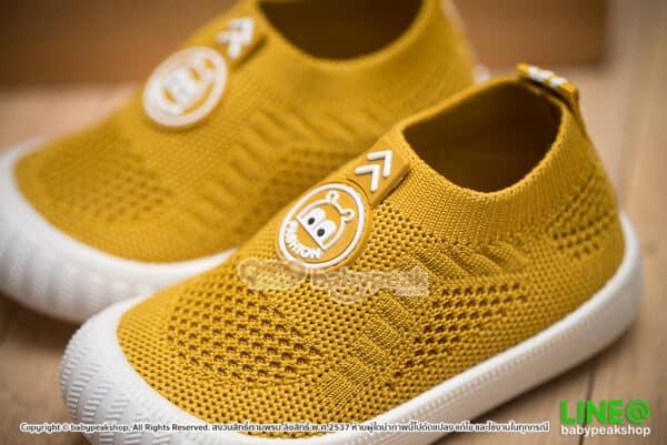 รองเท้าผ้าใบเด็กแบบสวมสีเหลือง