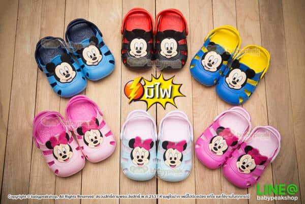 รองเท้ามีไฟ หัวโตรัดส้น Mickey&Minnie
