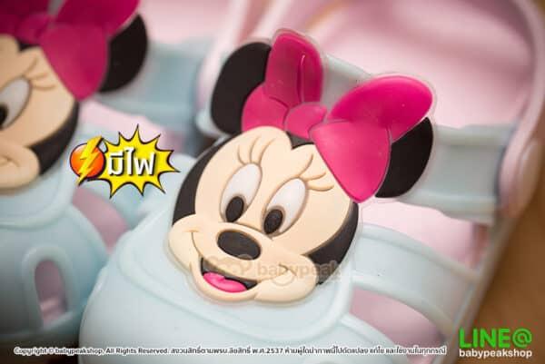 รองเท้ามีไฟ หัวโตรัดส้น Minnie Mouse